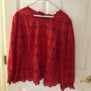 Madewell red blouson top NWT